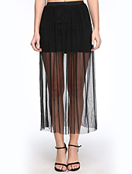 Women's Casual Inelastic Medium Maxi Skirts (Mesh)