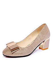 Women's Heels Spring Comfort PU Casual Chunky Heel Bowknot Gold Black