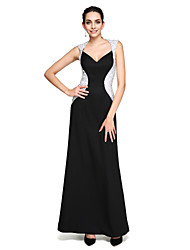 cheap -Sheath / Column Queen Anne Floor Length Stretch Satin Color Block Cocktail Party / Prom / Formal Evening Dress with Beading by TS Couture®