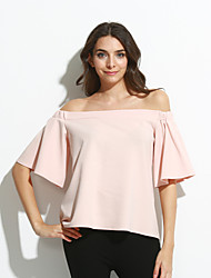 Women's Off The Shoulder|Flare Sleeve Pink Off-the-shoulder Top