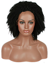 Afro Kinky Curly Synthetic Lace Front Wigs Black Color Hair Heat Resistant Synthetic Hair Fiber Wig With Adjustable Strap Back
