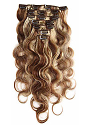 cheap -7A 100% Virgin Human Hair Extensions Clip In Remy Hair Body Wave Full Head Mix Color