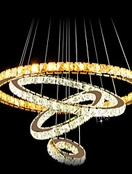 LED Crystal Pendant Light Ceiling Chandelier K9 Clear Crystal Round 4 Rings Large Ring(Warm White),Other(Cool White)