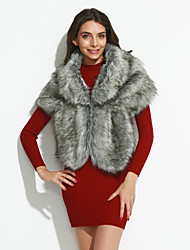 cheap -Women's Going out Fashion Winter Spring Fall Cloak/Capes,Solid Faux Fur