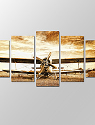 VISUAL STAR®Old Vintage Airplane Picture Giclee Artwork 5 Panels Modern Home Wall Decoration Framed Canvas Print Ready to Hang