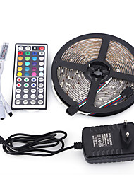 5m 150 leds rgb 44keys ir contrôleur 12v 3a alimentation ca 100-240v led strip light set