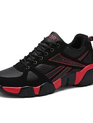 economico -Da uomo-scarpe da ginnastica-Tempo libero Casual-Comoda-Piatto-Tulle-Blu scuro Nero e rosso Nero e bianco