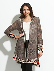 Women's Casual/Daily Simple Long CardiganPrint Brown/Gray Round Neck Long Sleeve Acrylic Spring/Fall