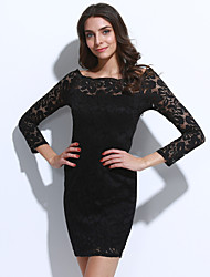 cheap -Street chic Bodycon Dress - Solid Colored, Lace Cut Out