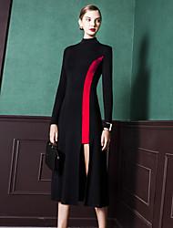 Fodero Vestito Da donna-Per uscire Semplice Monocolore A collo alto Al ginocchio Asimmetrico Manica lunga Cotone Primavera AutunnoA vita