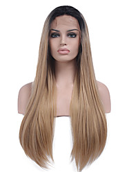 cheap -Two Tone Ombre Synthetic Hair Fiber Wig Long Straight Hair Black Root Heat Resistant Synthetic Lace Front Wigs For Fashion Woman