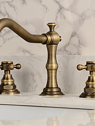 Antique Widespread Widespread with  Ceramic Valve Two Handles Three Holes for  Antique Copper , Bathroom Sink Faucet