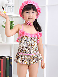 Girl Animal Print Rainbow Print Swimwear,Spandex
