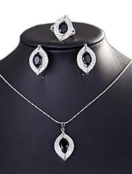abordables -Mujer Conjunto de joyas - Chapado en Plata Nupcial Incluir Blanco / Negro / Rosa Para Boda / Halloween / Diario / Anillos