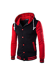 cheap -Men's Cotton Padded - Color Block Hooded