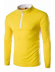 Masculino Camiseta Casual Simples Primavera Outono,Sólido Vermelho Preto Dourado Algodão Decote Redondo Manga Longa Média