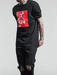 baratos -Homens Camiseta Diário Casual Todas as Estações Algodão Decote Redondo Manga Curta