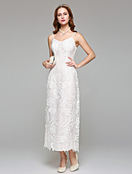 cheap -Sheath / Column Spaghetti Straps Tea Length Lace Wedding Dress with Lace by LAN TING BRIDE®