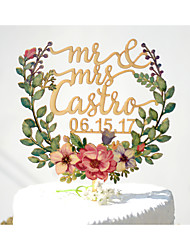 Wedding Cake Topper Printed with Floral Wreath and Personalized with Last Name and Wedding Date