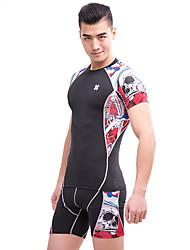 Per uomo T-shirt e pantaloncini da corsa Senza maniche Traspirante Set di vestiti per Esercizi di fitness Corsa Spandez Aderente Nero