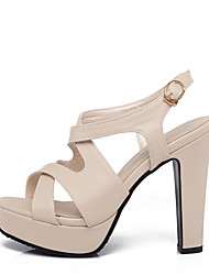 Women's Sandals Spring Summer Fall PU Dress Casual Party & Evening Chunky Heel Buckle White Black Beige Blushing Pink