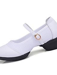 """Women's Dance Sneakers Synthetic Sneaker Practice Indoor Outdoor Performance Buckle Chunky Heel White Black 1"""" - 1 3/4"""" Non Customizable"""