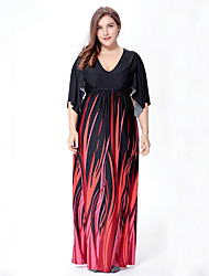 cheap -SWEET CURVE Women's Plus Size Boho Swing Dress,Print V Neck Maxi ½ Length Sleeve Black Polyester Spandex Spring Mid Rise Micro-elastic Medium