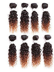 Cabelo Humano Cabelo Brasileiro Âmbar Enrolado Cacheado Extensões de cabelo 1 Peça Preto / louro da morango Preto / Medium Auburn Preto /