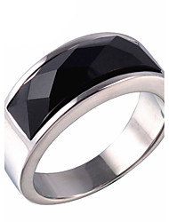 cheap -Men's Ring Statement Ring Onyx Gold Silver Agate Titanium Steel Fashion Daily Casual Costume Jewelry