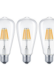 7W E26/E27 LED Filament Bulbs ST64 8 COB 720 lm Warm White Cold White 2200/6500 K Dimmable AC 220-240 AC 110-130 V 3pcs