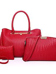 Damen Taschen Ganzjährig PU Bag Set Blume(n) Reißverschluss für Formal Blau Gold Schwarz Rote Grau