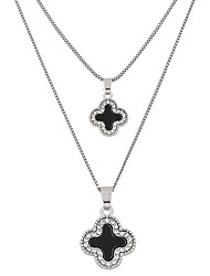 cheap -Women's Leaf Rhinestone Imitation Diamond Pendant Necklace  -  Fashion Double-layer Four Leaf Clover Black Necklace For Party Daily