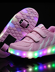 cheap -2017 Kids Boy Girl's Roller Skate Shoes / Ultra-light One Two Wheel Skating LED Light Fashion Shoes / Athletic / Casual LED WHeelys Shoes Black Pink