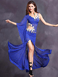 Belly Dance Women's Performance Lace Viscose Lace 2 Pieces 3/4 Length Sleeve Dress Shorts