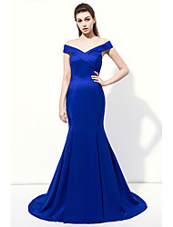 cheap -Mermaid / Trumpet V-neck Floor Length Charmeuse Formal Evening Dress with Criss Cross by Lovingtime