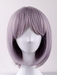 Women Synthetic Wigs 2017 New Short Milky Lavander BOBO Haircut with Bangs Heat Friendly Fiber wig