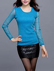 T-shirt Da donna Taglie forti Semplice Primavera,Tinta unita Rotonda Poliestere Blu Dorato Argento Manica lunga