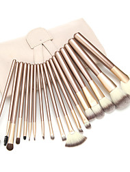 18 Makeup Brush Set Synthetic Hair Portable Professional Wood