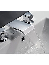 cheap -Bathtub Faucet - Contemporary Art Deco / Retro Country Chrome Widespread Ceramic Valve