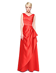 cheap -A-Line V-neck Floor Length Satin Bridesmaid Dress with Pleats by LAN TING BRIDE®