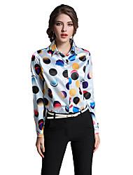 Mujer Tejido Oriental Casual/Diario Trabajo Primavera Verano Camisa,Cuello Camisero Estampado Manga Larga Algodón Multicolor Fino