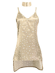 Courte Robe Femme Décontracté / Quotidien Habillées simple,Galaxie A Bretelles Mini Au dessus du genou Sans Manches Marron Polyester