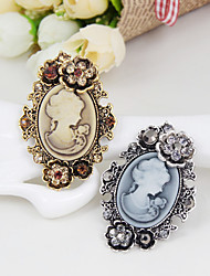 cheap -The New Retro beauty head Flower Crystal Brooch Classical Feminine Style