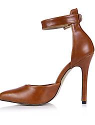 Недорогие -Кофе-Женский-Для офиса Для вечеринки / ужина Для праздника-Полиуретан-На шпильке-С ремешком на лодыжке-Обувь на каблуках