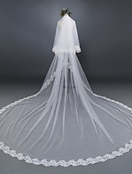 cheap -Two-tier Lace Applique Edge Wedding Veil Elbow Veils Cathedral Veils With Applique Lace Tulle