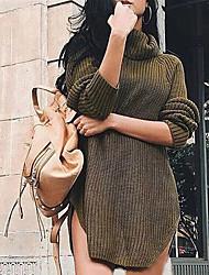 preiswerte -Damen Solide Alltag Sexy Pullover Langarm Rollkragen Winter Herbst