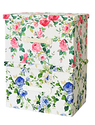 RayLineDo® 2 Pcs Old Fashion Classic Flower Pattern (1 Blue Flower 1 Red Flower) 26L Simulated Lining Fabric Folding Storage Boxes with Cover
