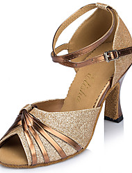 """cheap -Women's Latin Sparkling Glitter Heel Practice Beginner Indoor Outdoor Performance Buckle Ribbon Tie Flared Heel Gold Blue 2"""" - 2 3/4"""""""