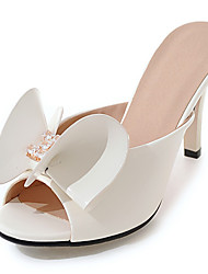 cheap -Women's Shoes Patent Leather Spring Summer Fall Winter Club Shoes Sandals Stiletto Heel Peep Toe Bowknot For Wedding Dress Party & Evening