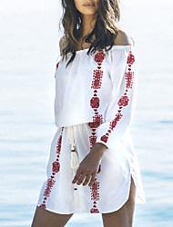 abordables -Femme Imprimé Bandeau Vêtement couvrant Maillots de Bain Blocs de Couleur Bleu Rouge Bleu marine